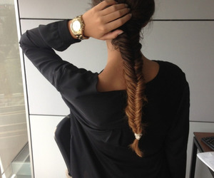 hair, braid, and watch image