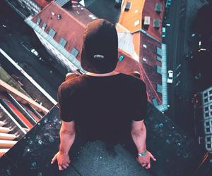 guy, hat, and parkour image
