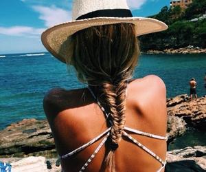 beach, hair, and braid image