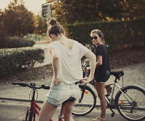 girls, bicycle, and summer image