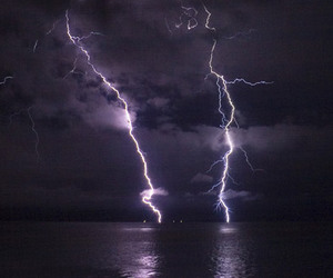 lightning, storm, and black and white image