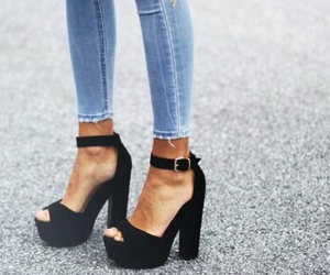 jeans, black, and heels image