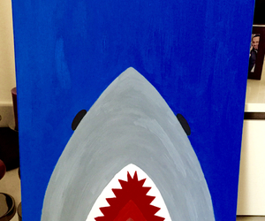 art, painting, and shark image