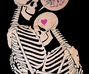 love, flowers, and skeleton image