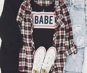 outfit, converse, and babe image