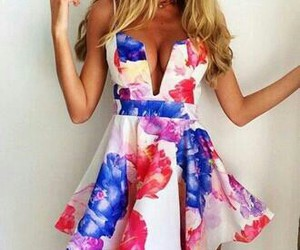 blonde hair, fashion, and flowers image