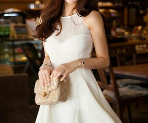 asian, party dress, and white dress image