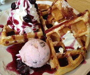 ice cream, waffles, and food image