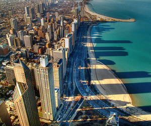city, beach, and sea image