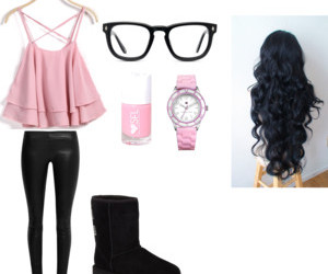 black, pink, and Polyvore image