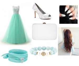 blue, brown hair, and Polyvore image
