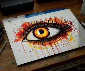 orange, eye, and art image