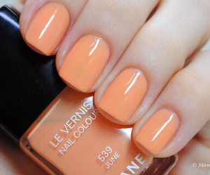 nails, orange, and chanel image