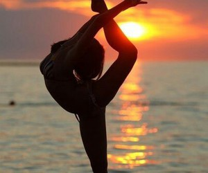 sunset, girl, and sport image
