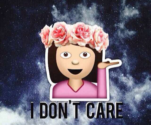 emoji, flowers, and i don't care image