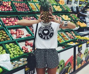 girl, fruit, and pineapple image