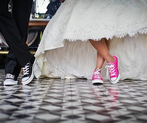 wedding, converse, and dress image