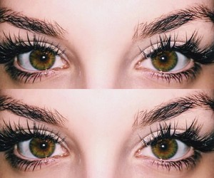 eyes, eyebrows, and green eyes image