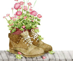 flowers, drawing, and shoes image
