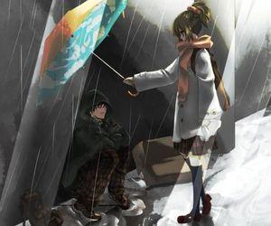 anime, rain, and couple image