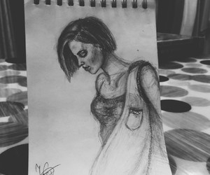 drawing, girl, and notebook image