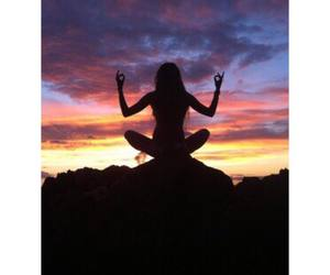 girl, sunset, and yoga image
