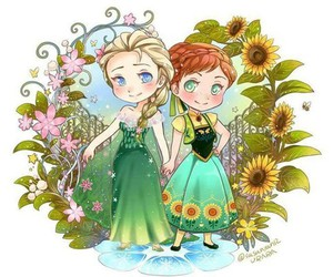 anna, elsa, and frozen fever image