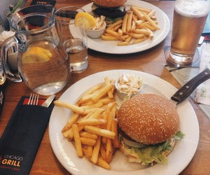 american, beer, and burger image