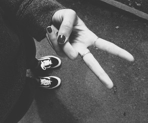 peace, vans, and black and white image