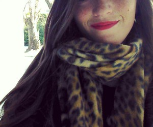 animal print, red lips, and lipstick image