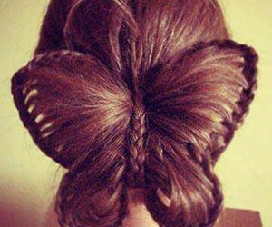 hair, butterfly, and hairstyle image