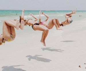 beach, friendships, and cheer image