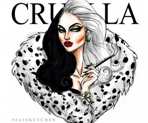 disney, art, and cruella de vil image