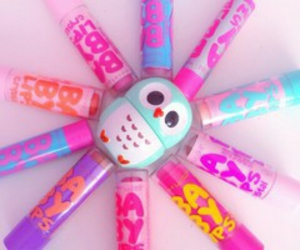 baby lips, owl, and pastel image