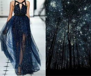 dress, stars, and night image