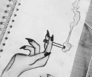 black&white, drawing, and sad image