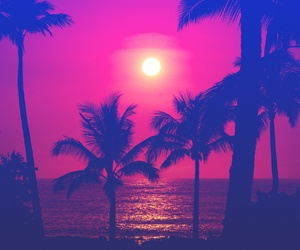 beach, pink, and sun image