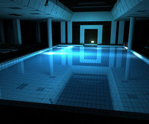 pool, blue, and dark image