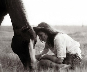 black and white, horse, and girl image
