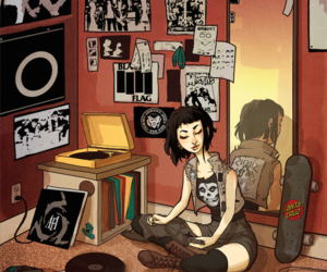 girl, draw, and music image