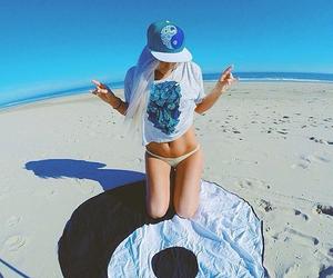 beach, girl, and peace image