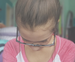 brown hair, girl, and glasses image