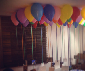 balloons, room, and surprise image