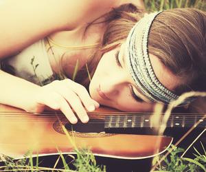 girl, grass, and guitar image