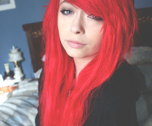 girl, dyed hair, and red image