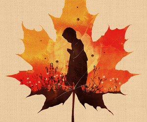 art, autumn, and child image