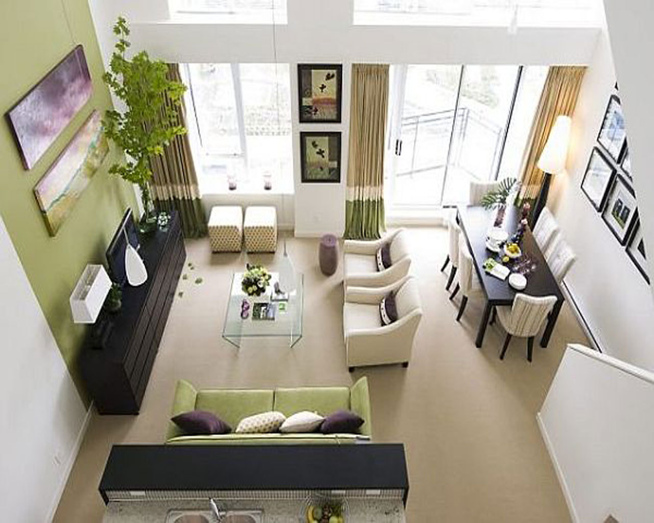 Brilliant Small Open Space Apartment Living Room Idea With Green Sofa And Armless Chairs And Glass Coffee Table Also Green And White Wall Paint Colors And Simple Dining Room And Brown Carpet