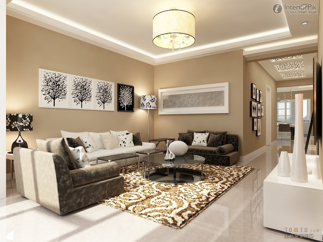 Fancy Open Apartment Living Room Design Idea with Brown ...