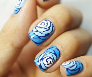 nails, rose, and blue image