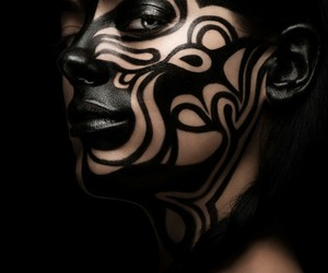 black, face paint, and avant garde image